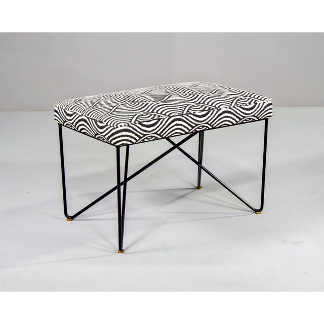 Found in Italy, this mid-century style bench is new with an upholstered seat newly upholstered in a woven black and white...
