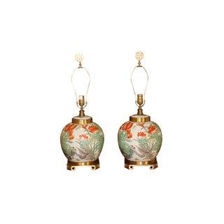 Pair Maitland Smith Brass & Porcelain Ginger Jar Lamps For Sale
