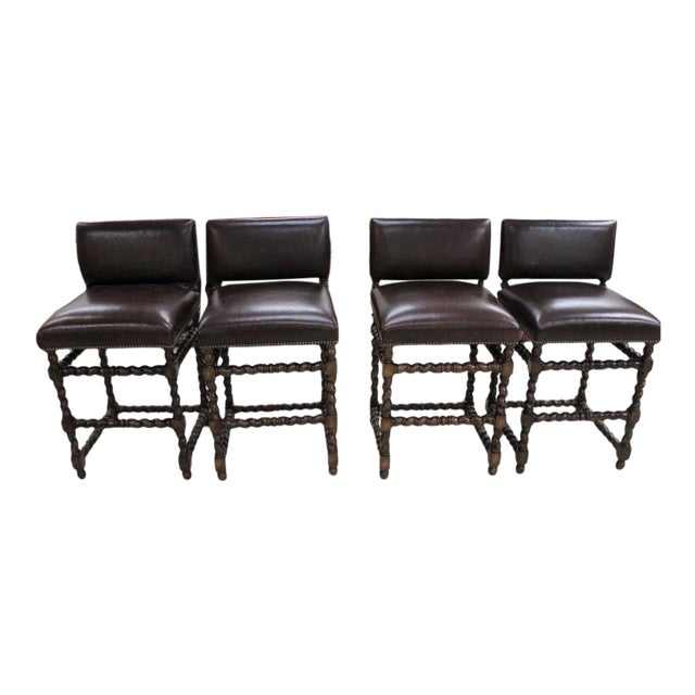 Paul Ferrante Spanish Colonial Leather Bar Stools - Set of 4 For Sale