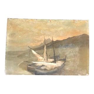 Vintage French Sailboat Landscape