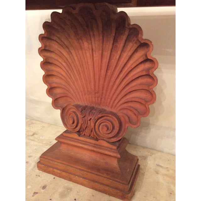 Nautical Edward Wormley Style Shell Hall Table in Raw Mahogany For Sale In Baltimore - Image 6 of 10