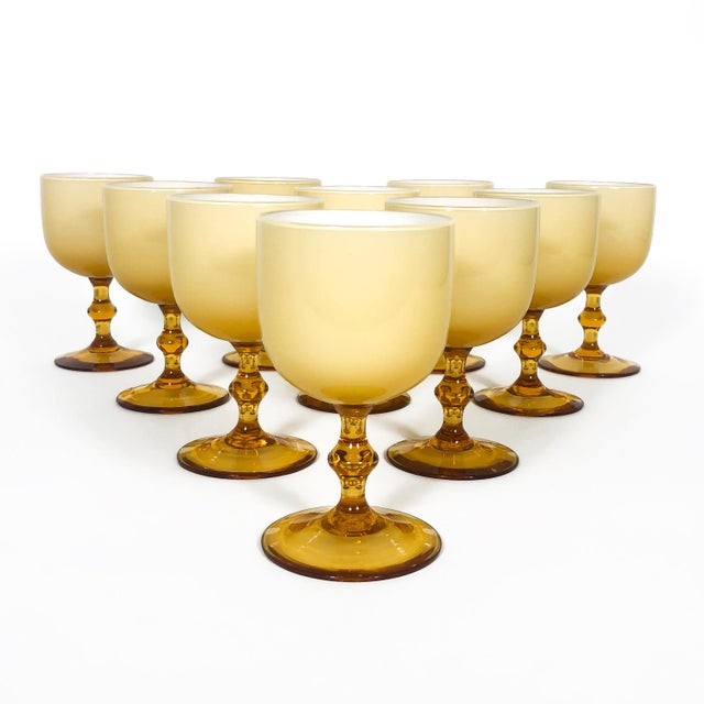 Vintage Carlo Moretti Butterscotch Cased Glass Wine Glasses - Set of 10 For Sale - Image 9 of 9
