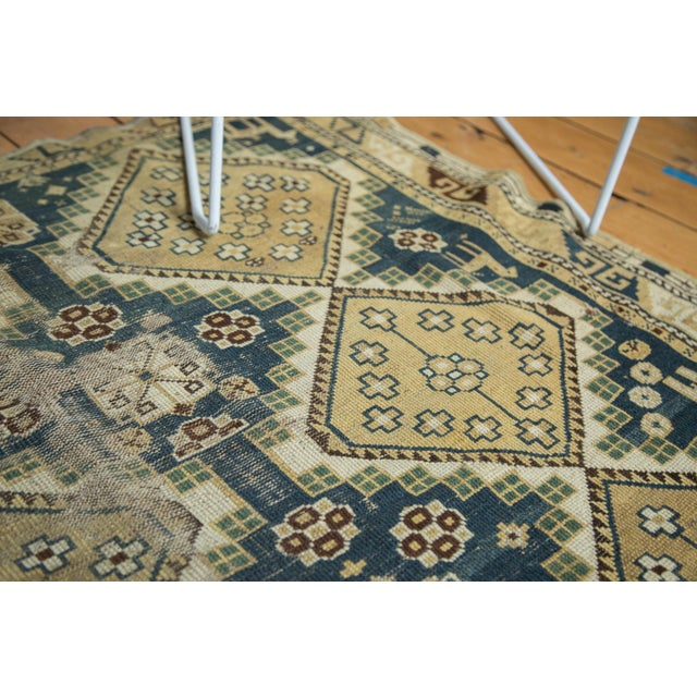 "Vintage Fragmented Caucasian Square Rug - 3'9"" x 4'8"" - Image 3 of 7"