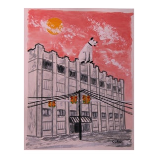 Contemporary Warehouse With Dog Painting by Cleo Plowden For Sale