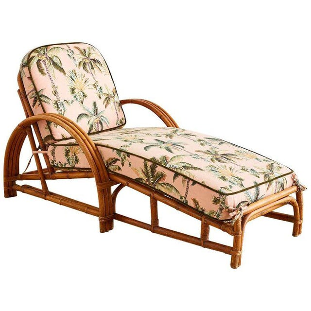 Paul Frankl Style Three Strand Rattan Chaise Lounge For Sale - Image 13 of 13