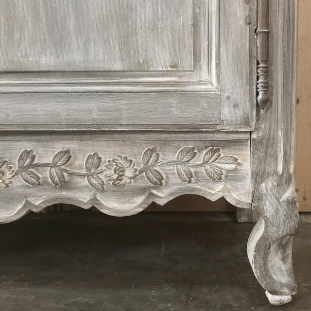 19th Century Country French Provincial Whitewashed Armoire For Sale In Dallas - Image 6 of 13