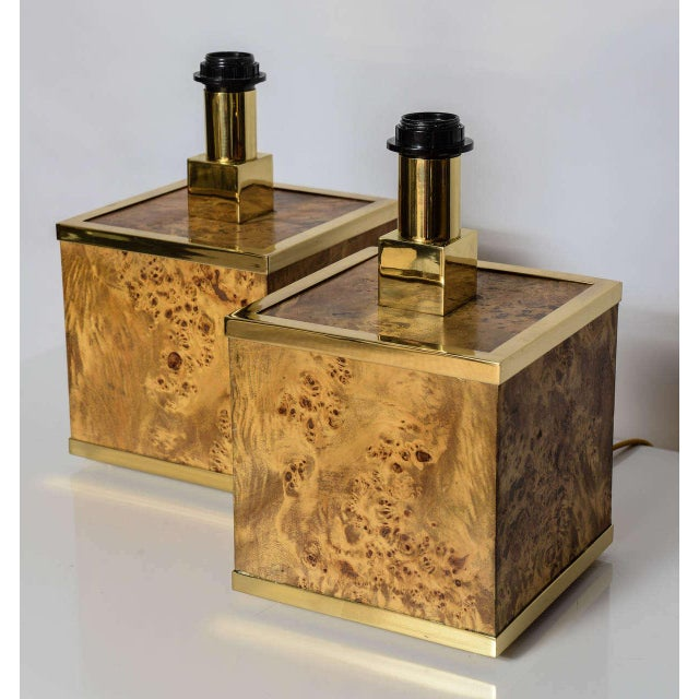 Rewired and polished, this pair of burlwood cube base lamps with polished brass trim. Custom shades included.