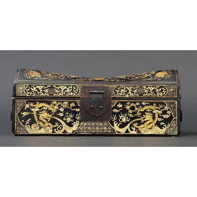 Qing Dynasty Gilt Inlaid Lacquer Pillow Box For Sale - Image 6 of 7