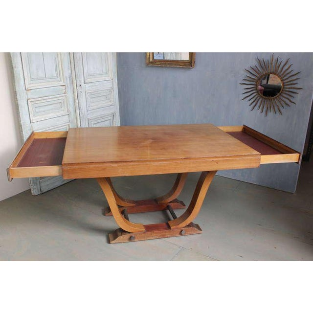 Chrome French 1940s Art Deco Style Rosewood Dining Table For Sale - Image 7 of 9