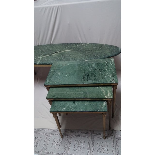 French Brass/Bronze Marble Top Nesting Tables- S/3 For Sale - Image 9 of 9