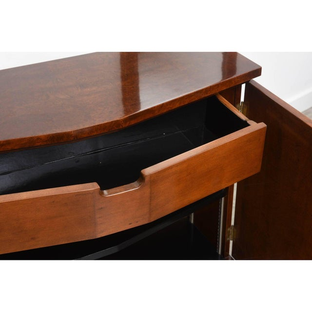 Wood Mid-Century Burlwood Console & Mirror Set For Sale - Image 7 of 10