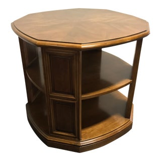 Henredon Pecan Mid Century Octagonal Accent End Side Bookcase Table