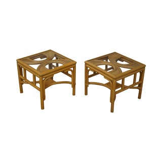 Rattan Bamboo Square Glass Top Low Tables - Pair For Sale