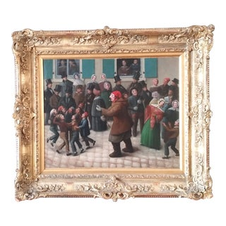 """Early 19th Century """"Le Jour Du Carnaval"""" Oil Painting, Framed For Sale"""