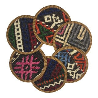 Rug & Relic Kilim Coasters Set of 6 | Tutku For Sale