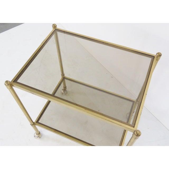 Mid-Century Modern Brass & Glass Bar Cart - Image 3 of 5