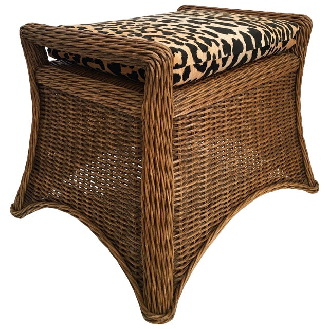 Sculptural Draped Wicker Bench With Animal Print Cushion For Sale