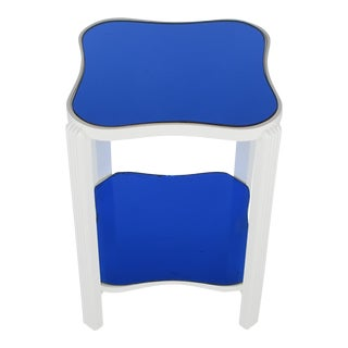 Art Deco Two-Tier White Lacquer and Blue Mirror Side Table For Sale