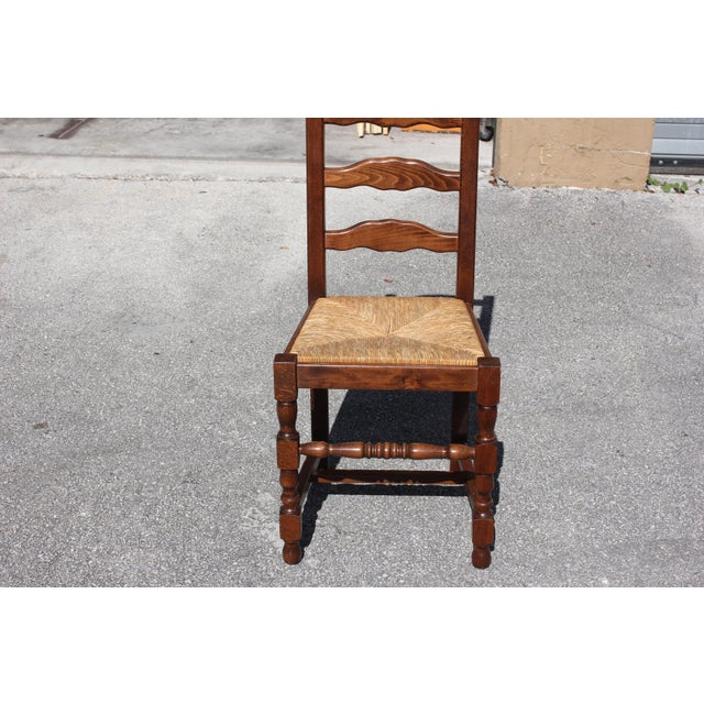 Early 20th C. Vintage French Country Rush Seat Walnut Dining Chairs- Set of 6 For Sale - Image 12 of 13