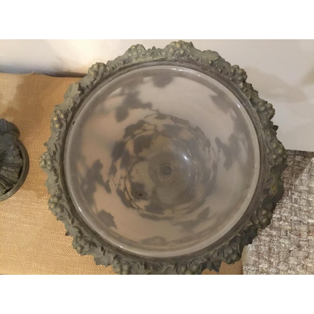 19th Century Antique Glass and Metal Urns - a Pair For Sale - Image 4 of 9