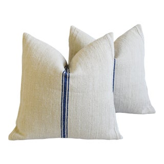 """French Country Blue Striped Grain-Sack Feather/Down Pillows 22"""" Square - Pair For Sale"""