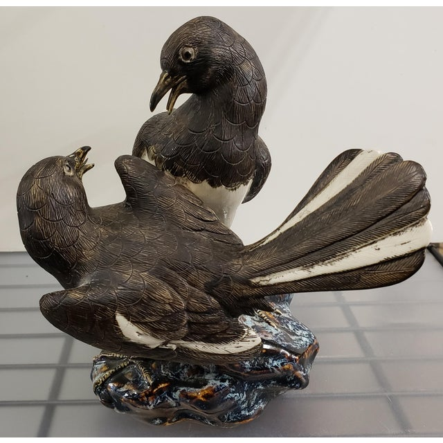Mid 20th Century Mid 20th Century Japanese Hirado Porcelain Eurasian Magpies on Rock Figurine For Sale - Image 5 of 7