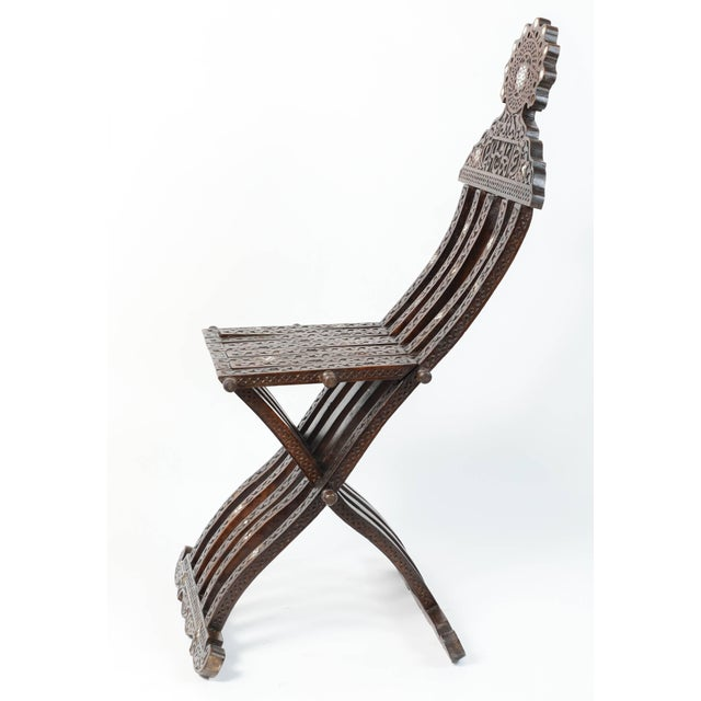 Syrian Mother-Of-Pearl Inlaid Wooden Folding Chair For Sale - Image 4 of 10