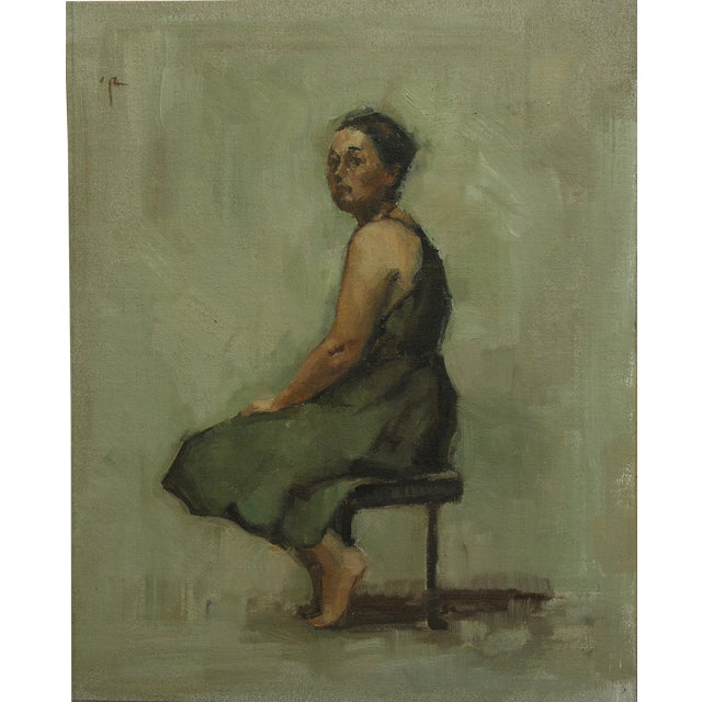 "Rubino Framed Oil Painting ""Green Frock"", Contemporary Figure Portrait For Sale"