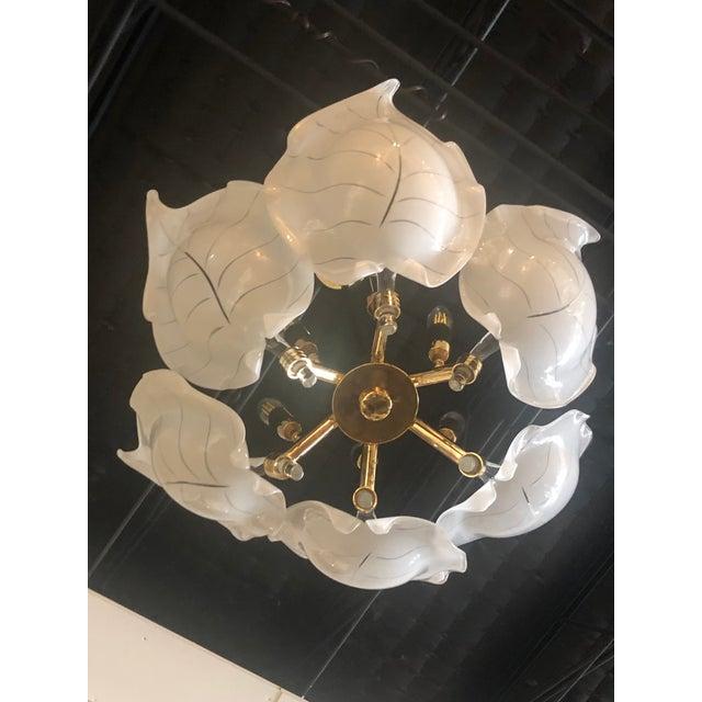 Metal Vintage Italian Hollywood Regency Murano Glass Brass Tropical Leaf Chandelier For Sale - Image 7 of 10