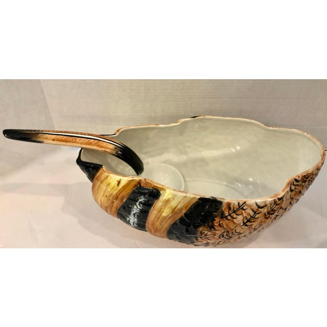 Black Italian Hand Painted Glazed Ceramic Pheasant Soup Tureen For Sale - Image 8 of 13