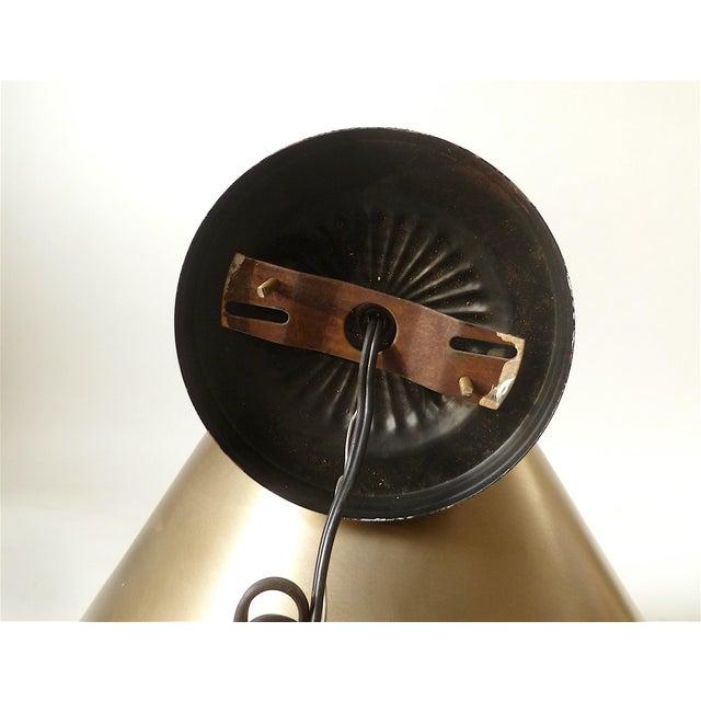 Vintage Brushed Gold Cone Hanging Light - Image 3 of 4