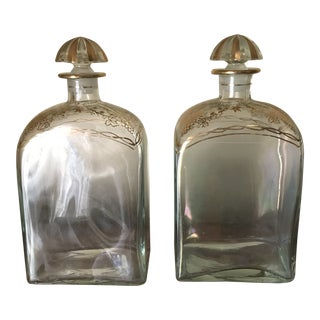 Early 20th Century Decorated Decanters With Original Ground Stoppers - A Pair For Sale