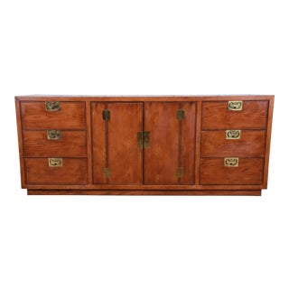 Henredon Campaign Style Oak Long Dresser or Credenza For Sale