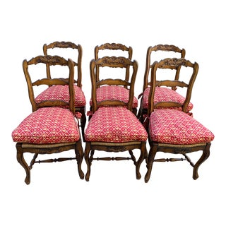 1980s Vintage French Country Ladderback Dining Chairs - Set of 6 For Sale