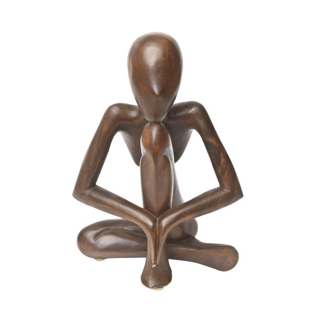 Vintage Mid-Century Modern Wood Seated Figure Sculpture For Sale