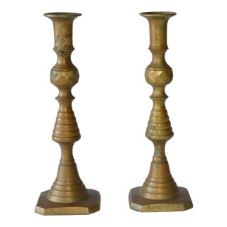 Late 20th Century Antique Brass Patinated Candlesticks - a Pair