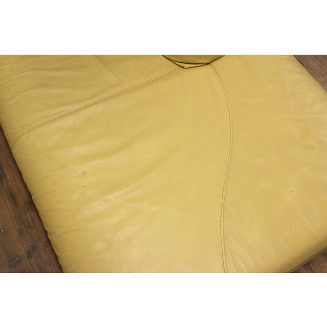 Vintage Mid-Century Modern Nicoletti Italian Leather Canary Yellow Low Daybed For Sale - Image 9 of 12