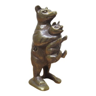 "Vintage Cast Iron ""Bear Stealing Pig"" Bank For Sale"