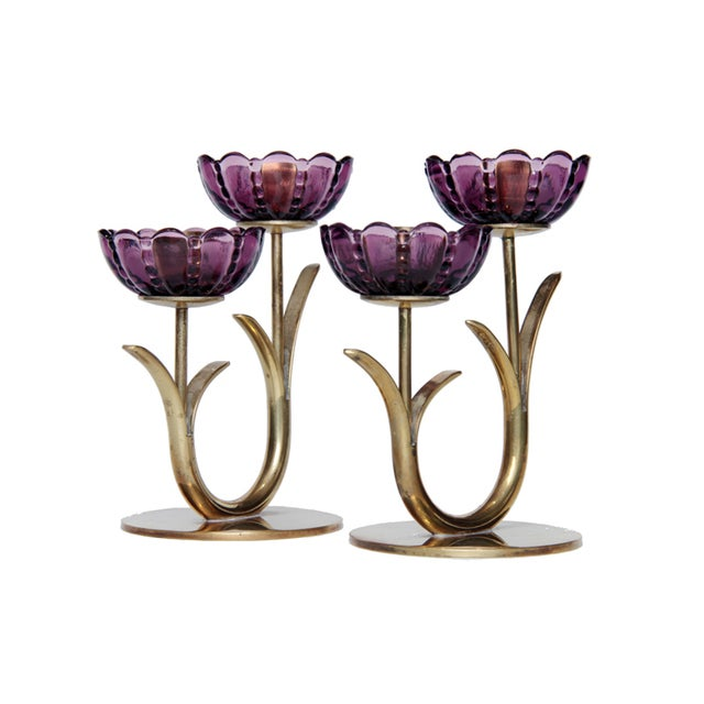 Mid-Century Modern 1940s Swedish Modern Brass and Glass Flower Candlesticks- a Pair For Sale - Image 3 of 6