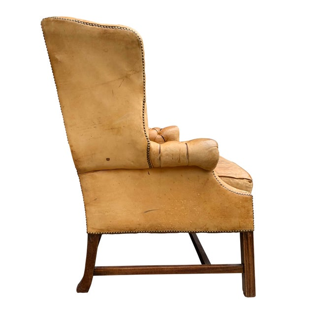 20th Century Vintage English Chippendale Style Wingback Settee For Sale - Image 10 of 13