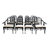 Image of Vintage Frances Elkins Loop Black Dining Chairs - Set of 12 For Sale
