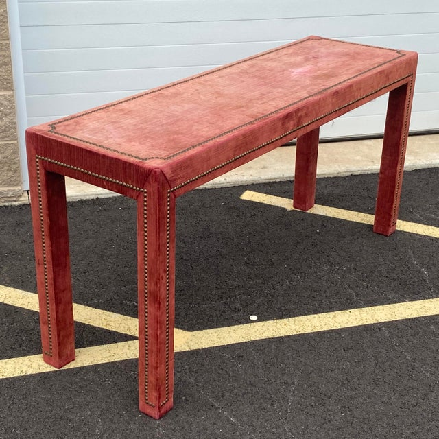 Modern 1970s Distressed Velvet Nailhead Parsons Console Table For Sale - Image 3 of 13