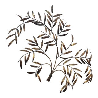 Italian Gilded Palm Frond Wall Hanging For Sale