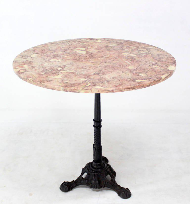 Cast Iron Base, Marble Top Pedestal Table   Image 2 Of 5