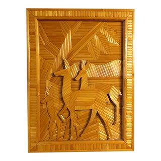 Folk Art Mid-Century Wooden Deer Wall Art For Sale
