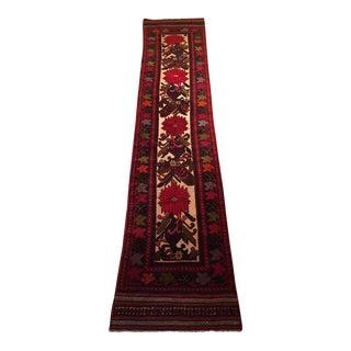 Vibrantly Patterned Afghan Tajik Handmade Flat Weave Wool Runner Rug - 2′, 8″ × 12′, 6″
