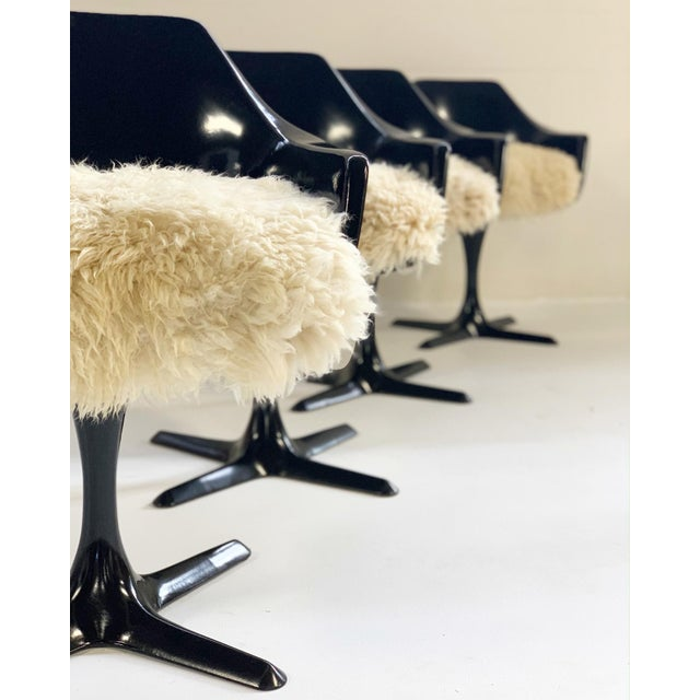 Contemporary Burke Inc Tulip Style Armchairs With Custom California Sheepskin Cushions - Set of 4 For Sale - Image 3 of 10