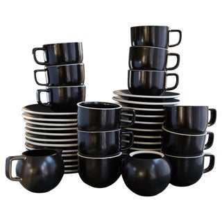 Japanese Sasaki Matte Black Coffee Service for 12, Designed by Massimo Vignelli For Sale