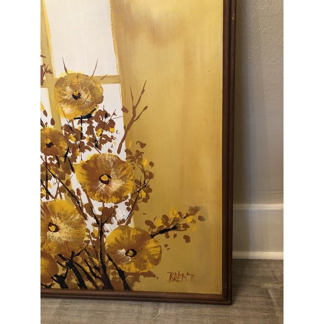 Mid-Century Modern 1960s Mid-Century Style Floral Still Life Painting, Framed For Sale - Image 3 of 8