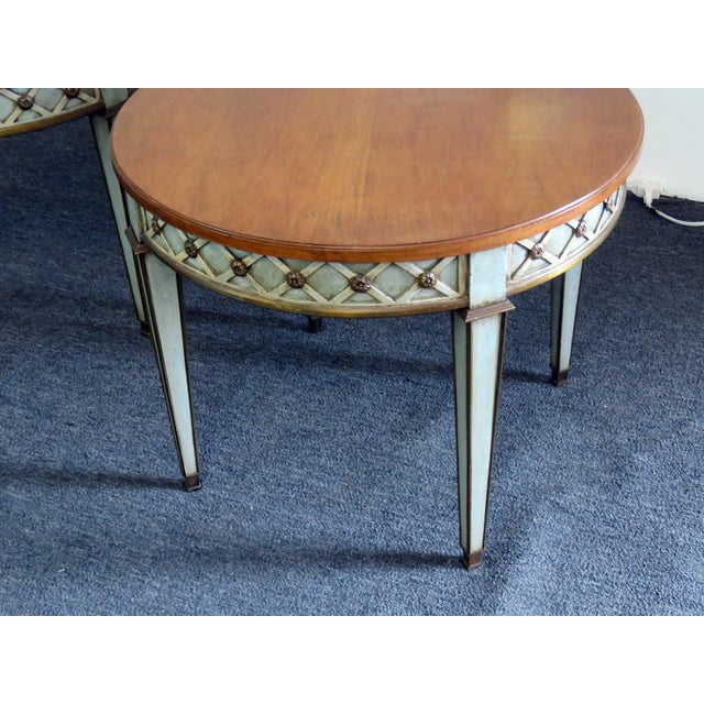 Hollywood Regency Mid 20th Century Regency Style Paint Decorated Side Tables - a Pair For Sale - Image 3 of 7
